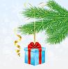 Векторный клипарт: подарочная коробка с красным бантом висит на ветке Рождество