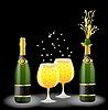Векторный клипарт: бутылки и бокалы с шампанским на черном
