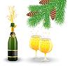 Векторный клипарт: бутылки, два бокала с шампанским и филиала