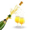 offene Flasche und zwei Gläser mit Champagner
