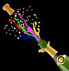 Векторный клипарт: открытая бутылка с яркими потоками шампанского и