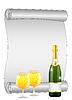 Векторный клипарт: лист скручены бумаги, бутылки и бокала