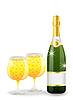 Векторный клипарт: бутылка и бокалы с шампанским