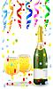 Векторный клипарт: праздничные почтовый с бутылкой, бокала шампанского ап