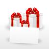 Векторный клипарт: подарочные коробки и лист бумаги с mestome для текста
