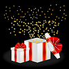 Векторный клипарт: подарочные коробки с красными бантами