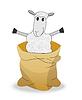 Векторный клипарт: веселый овец в мешке