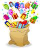 Векторный клипарт: мешок с яркими подарочные коробки и серпантином
