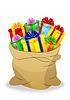 Векторный клипарт: мешок с яркими подарочные коробки