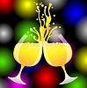 Klingeln der Gläser Champagner auf hellem