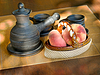 Zestaw do kawy i wazon ceramiczny z brzoskwiniami | Stock Foto