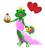 生日快乐青蛙 | 向量插图