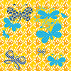 Butterflies on patterned background Seamless texture | Stock Vector Graphics