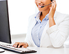 African female helpline operator | Stock Foto