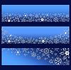 Set blaue Banner mit 3d weißen verzierten Schneeflocken