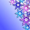 Winter-Hintergrund mit 3D bunten Schneeflocken