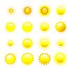Set orange und gelbe Sonne