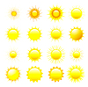 Set orange und gelbe Sonne | Stock Vektrografik