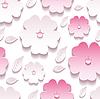 꽃 배경 원활한 패턴, 핑크 3d 사쿠라 | Stock Vector Graphics