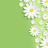 흰색 chamomiles와 함께 봄 녹색 자연 배경 | Stock Vector Graphics