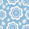 Векторный клипарт: Бесшовные синий с цветами и листьями