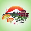 Japanese abstrakten Hintergrund mit Fans, Gebirge,