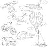 Reisen mit dem Auto, Klima Ballons, Schiffe, Fahrrad Set,