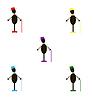 Stilvolle Herren in vielfarbige Hüte und Fliegen
