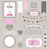 Romantische Grafiksatz, Rahmen, Herzen, Rahmen,