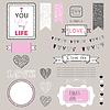 Romantyczne graficzne zestaw, granice, serca, ramki, | Stock Vector Graphics