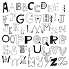 Alfabet litery do Z. Zestaw doodle liter | Stock Vector Graphics