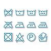 Instrukcja prania, czyszczenia na sucho, ikony opieki, | Stock Vector Graphics