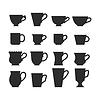 Set von Tassen, schwarzen Silhouetten der Gerichte, Symbole