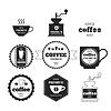 Zestaw emblematów kawy, odznaki, logo, etykiety | Stock Vector Graphics