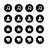 16 icon Lupe, Benutzerprofil, Sterne Lieblings, Herz Lesezeichen-Symbol mit plus, zu löschen, markieren Markierung Minuszeichen Set 07
