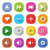 16 Medien-Icon-Set 06 (weiße Zeichen auf Farbe)
