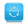 Blaues Symbol mit weißem Pfeil wiederholen, laden, aktualisieren, Dreh Zeichen