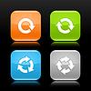 Arrow reload, drehen, zu aktualisieren, wiederholen Sie weiß zeichen Piktogramm auf abgerundete Viereck glossy Web Internet-Taste mit Reflexion