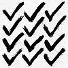 12 schwarze Tinte Skizze Häkchen auf Aquarellpapier