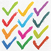 12 Farbtintenskizze Häkchen auf Aquarellpapier