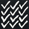 12 weiße Tintenskizze Häkchen auf Aquarellpapier