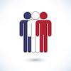 Farbiges Logo drei Leute in den Farben der Nationalflagge der Vereinigten Staaten von Amerika (Mann Abbildung) gemalt