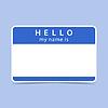 Blaue Farbe Name Tag leer Aufkleber HALLO mein Namensis