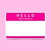 Rosa Name Tag leer Aufkleber HALLO mein Namensis