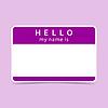 Violet Name Tag leer Aufkleber HALLO mein Namensis