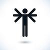 Schwarz Logo Mann mit vielen Händen oder Flügel