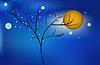 Волшебный канун новогодних с огромным Луны