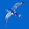Przełknięcia mozaiki koloru niebieskiego ptaka | Stock Vector Graphics
