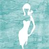 Streszczenie niebieskim tle morza z białą dziewczyną | Stock Vector Graphics
