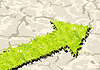 Grass Pfeil auf Crack Boden. Vektor-Illustration